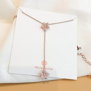 Alicia Bonnie rose gold pave flower Y necklace